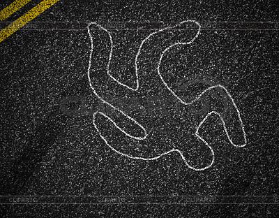 Chalk Umrisse toter Fußgänger nach | Foto mit hoher Auflösung |ID 3658426