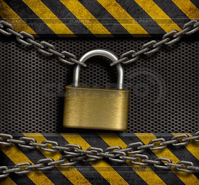 Zamkniętej kłódki z łańcuchami i metalu przemysłowych | Foto stockowe wysokiej rozdzielczości |ID 3658998