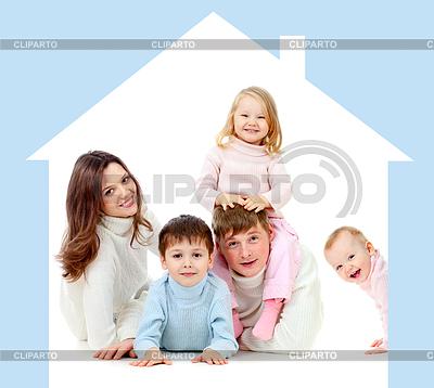 Szczęśliwa rodzina w domu własnej koncepcji | Foto stockowe wysokiej rozdzielczości |ID 3659292