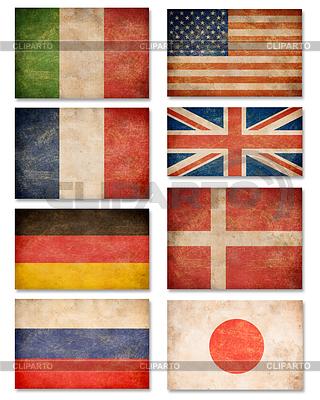 Collection of grunge flags: USA, Großbritannien, | Foto mit hoher Auflösung |ID 3659545