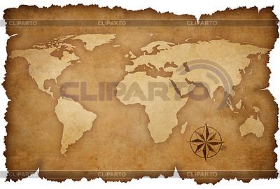 Grunge Weltkarte Hintergrund mit rose compass | Illustration mit hoher Auflösung |ID 3659709