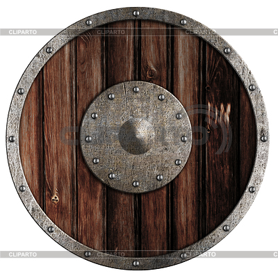 Stary drewniany tarcza viking | Foto stockowe wysokiej rozdzielczości |ID 3660147