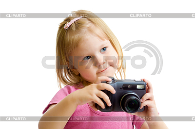 Kleines Mädchen mit Digitalkamera   Foto mit hoher Auflösung  ID 3661009