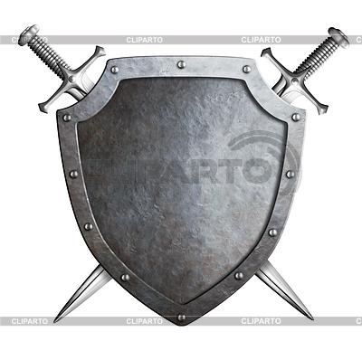 Alter Metallabschirmung mit gekreuzten Schwertern | Illustration mit hoher Auflösung |ID 4647057