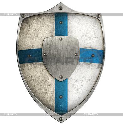 Alter Metallabschirmung mit blauen Kreuz | Illustration mit hoher Auflösung |ID 4647319