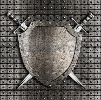 Schild und zwei Schwerter gekreuzt auf Metall hängen | Illustration mit hoher Auflösung |ID 4647357
