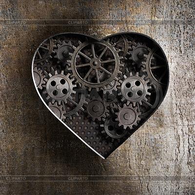 Metall-Herz mit rostigen Getriebe und Zahnräder | Illustration mit hoher Auflösung |ID 4647936