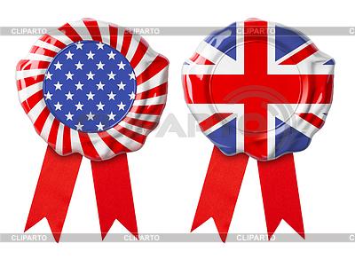 Britische Großbritannien und USA Garantiesiegel mit Bändern Satz | Foto mit hoher Auflösung |ID 4648148