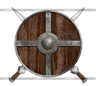 Zwei gekreuzte Schwerter und Holz Viking-Schild- | Illustration mit hoher Auflösung |ID 4648158