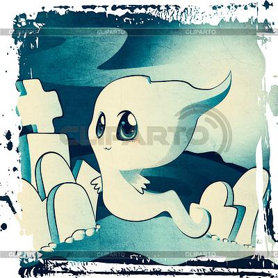 Cute ghost on cemetery | Stockowa ilustracja wysokiej rozdzielczości |ID 4604369