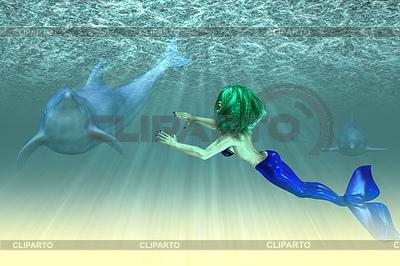 돌고래와 인어 소녀 | 높은 해상도 그림 |ID 4622148