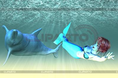 Meerjungfrau-Mädchen mit Delfinen | Illustration mit hoher Auflösung |ID 4622149