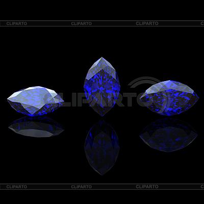 Blue gemstone of marquis shape on black. Benitoit. | Stockowa ilustracja wysokiej rozdzielczości |ID 3587028