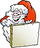 Vector clipart: Happy Santa pointing to board