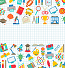 Collection of School Colorful Icons, Wallpaper for