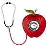 Vector clipart: Stethoscope and red apple icon