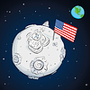astronaut whith flag USA on moon color