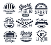 Vector clipart: Monochrome Sport Emblems, Labels, Badges, Logos Set